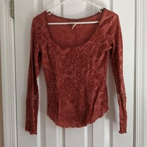 Free people rose burnt out top